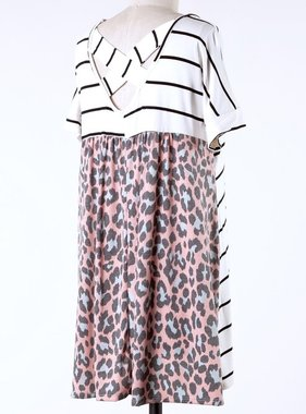 Ivory Striped Top with Peach Leopard Back