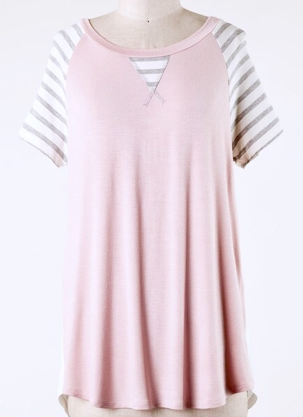 Blush Top with Striped Short Sleeve