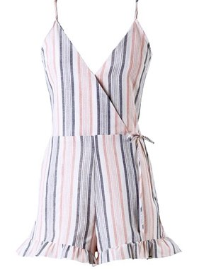 Peach/Navy Striped Crossover Romper