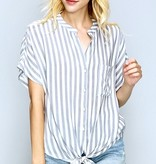 Off White/Blue Striped Front Tie Top