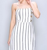 White/Navy Striped Button Detail Mini Dress