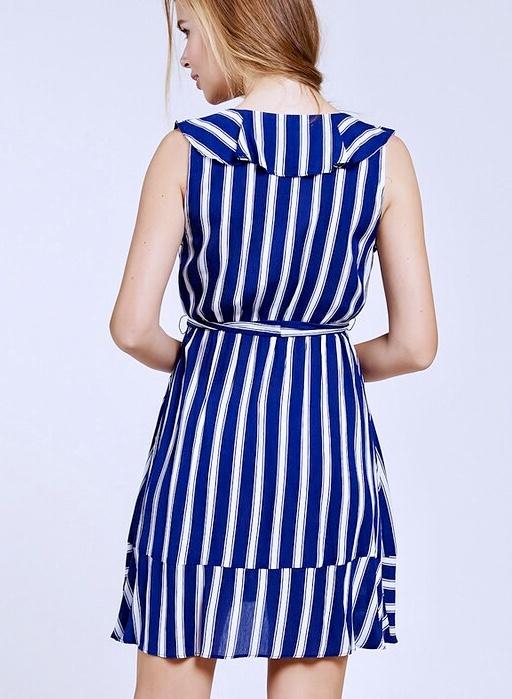 Navy Striped Belted Frilled Dress
