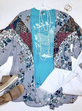 Grey Mixed Floral Kimono