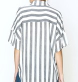Black and White Striped Pocket Tie Front Top