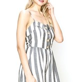 Black and White Striped Romper With Button Detail