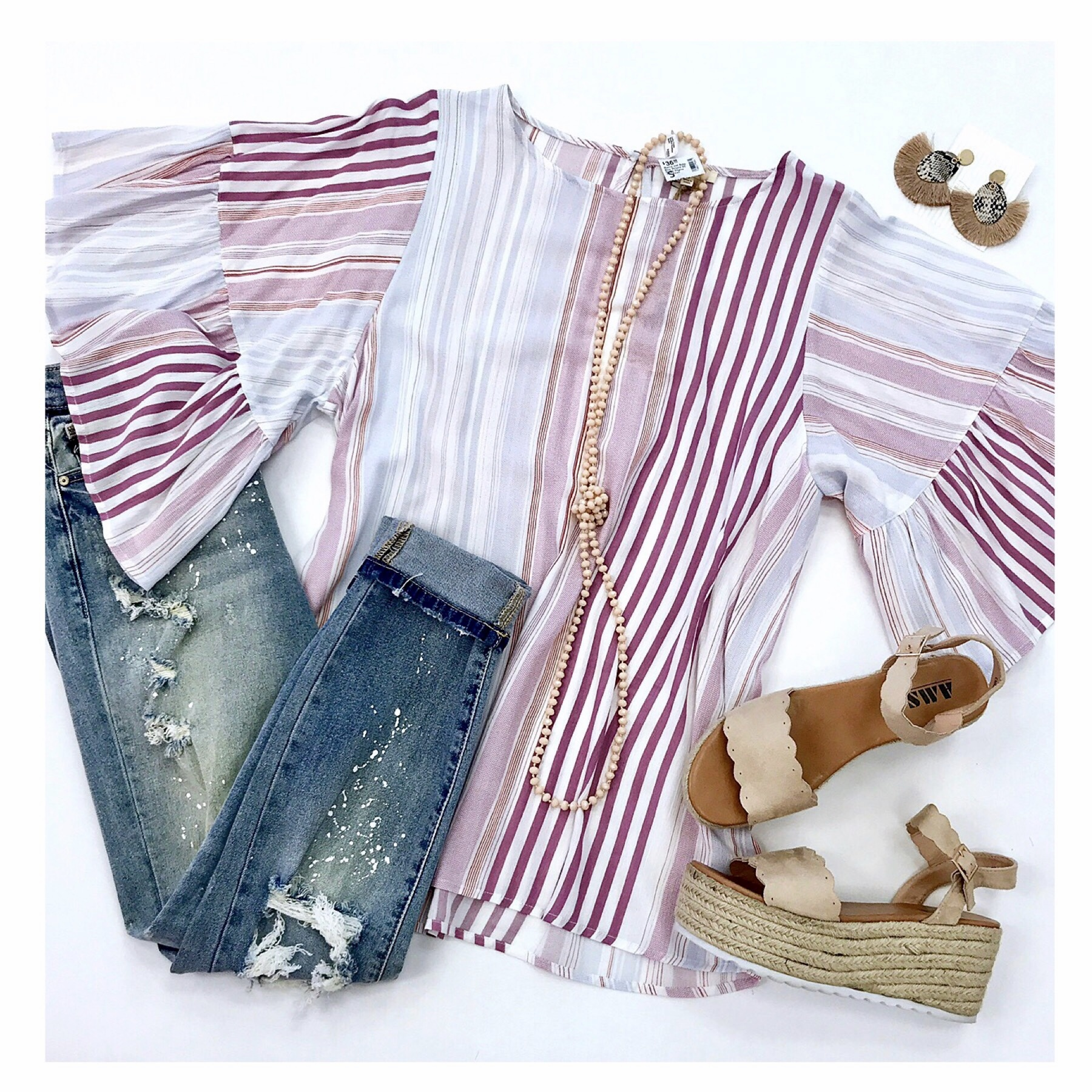 Mauve and Baby Blue Striped SS Ruffle Sleeve Top