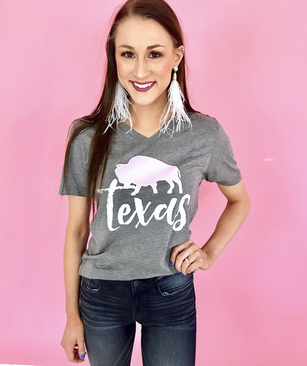 Grey Texas 1845 Buffalo Check & Floral T-Shirt
