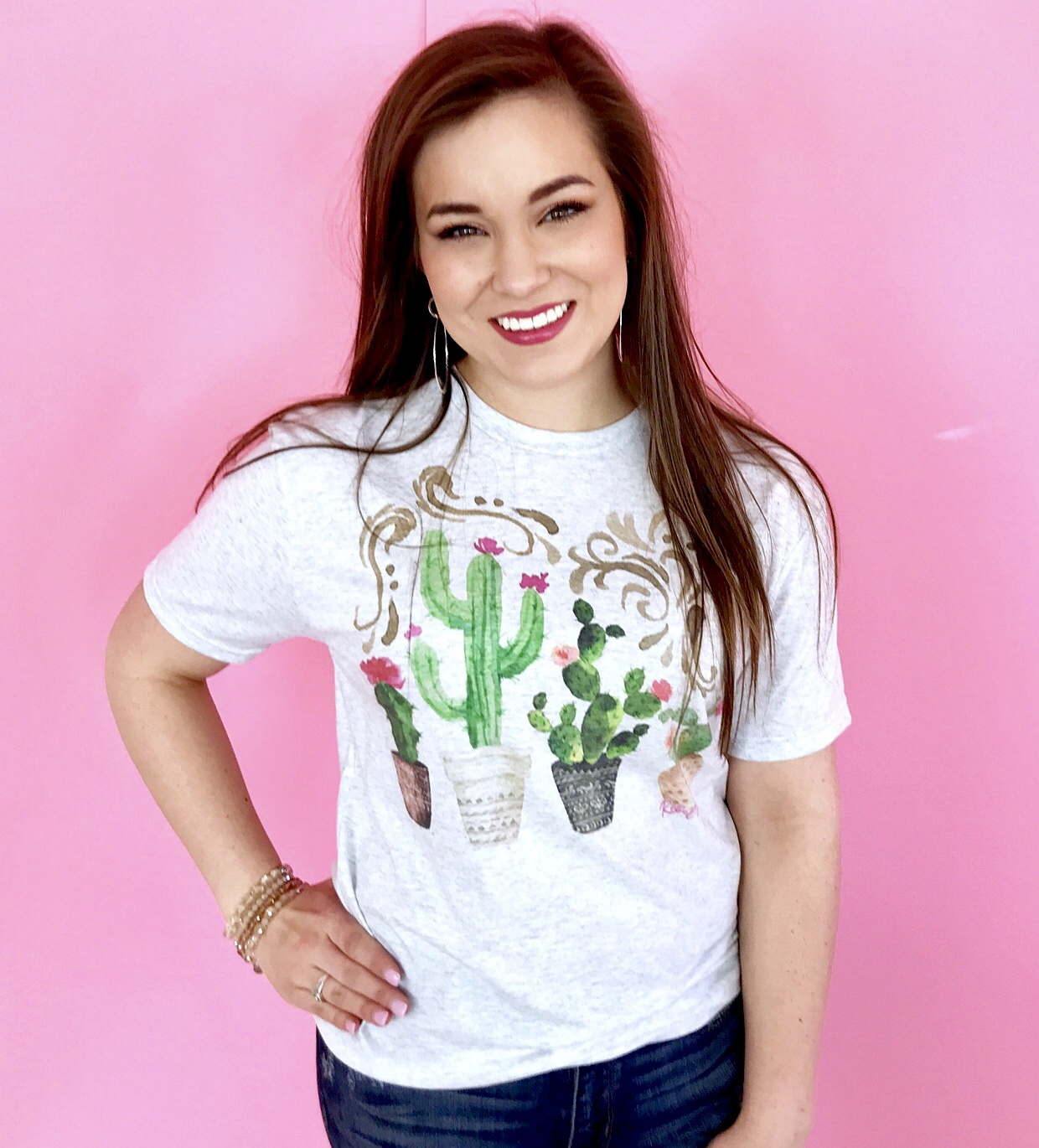 Oatmeal Potted Cactus Graphic Tee