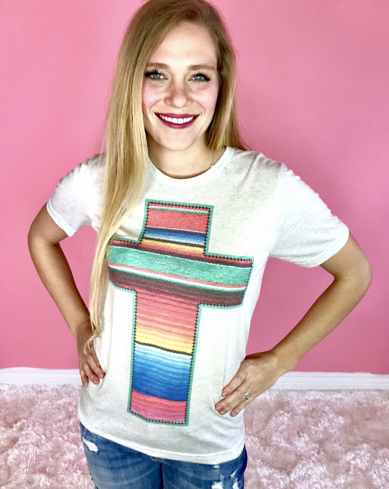 Oatmeal Serape Cross Graphic Tee