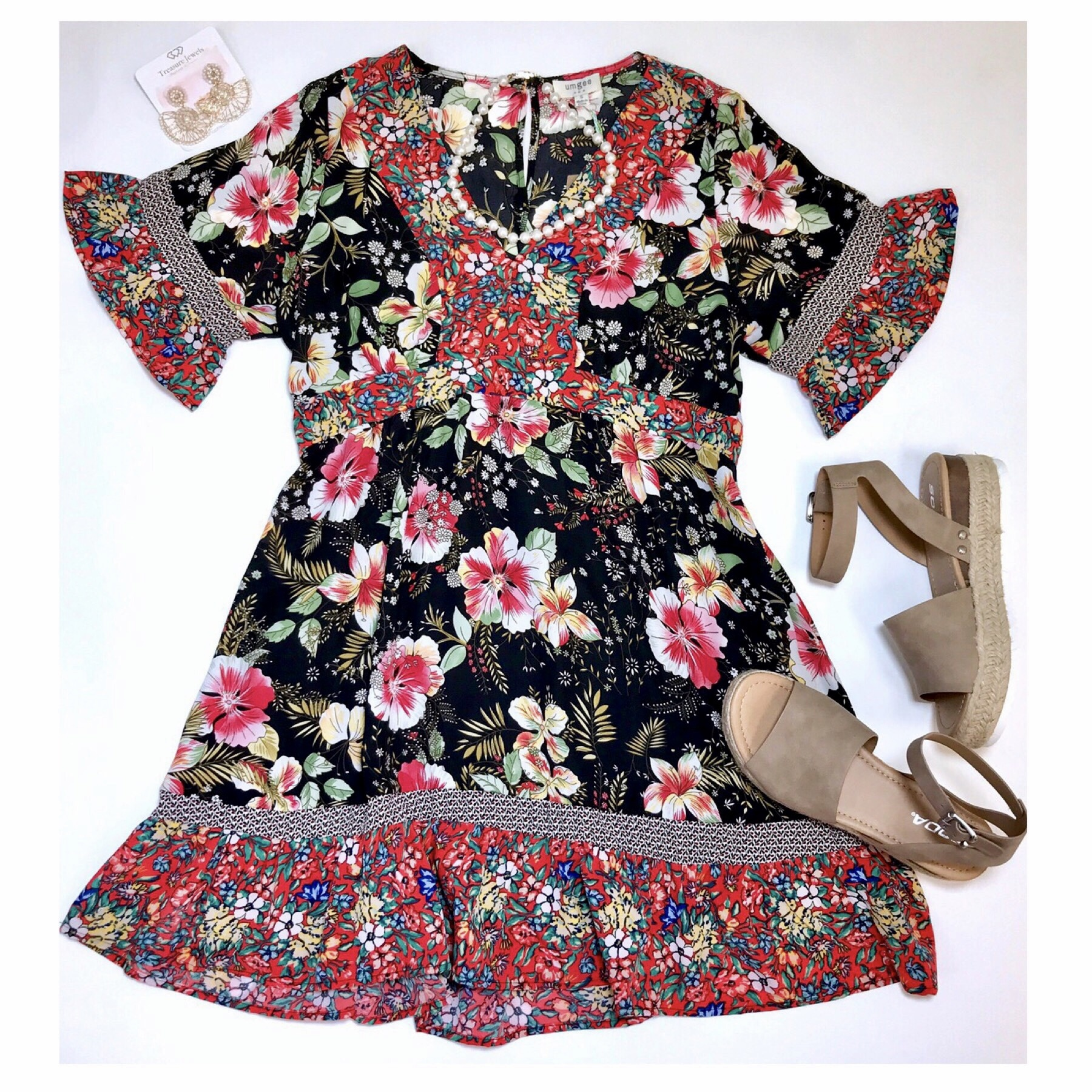 Black Floral Mixed Print V-Neck Dress