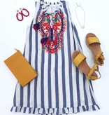 Blue Striped Sleeveless Dress with Embroidery