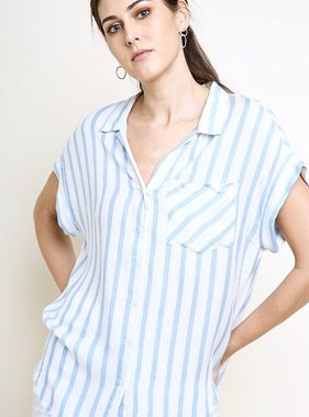 Light Blue and Off White Striped Button Up Top w/ Metallic Detail