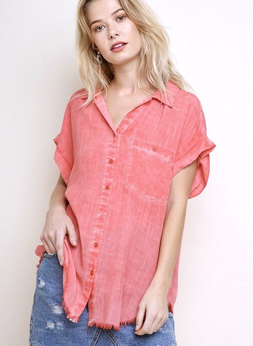 Coral Button Up Short Sleeve Frayed Hem Top