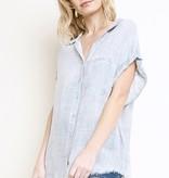 Grey Button Up Short Sleeve Frayed Hem Top