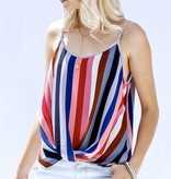 Blue Multi Striped Tank with Front Twist
