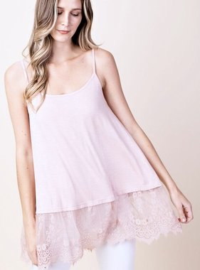 Mauve Lace Spaghetti Strap Tank with Lace Trim
