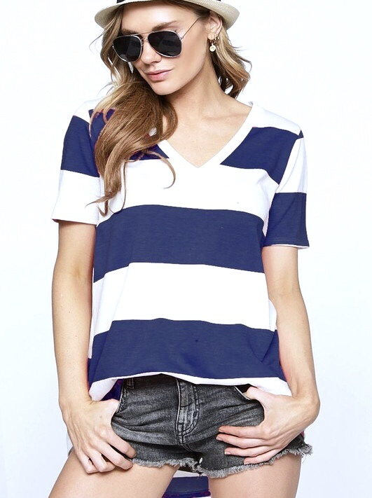 Navy and  White Striped V-Neck Top