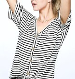 White and Black Striped Button Detail Front Tie Top