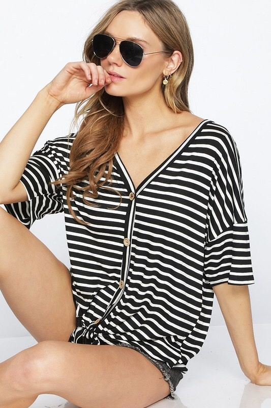 Black and White Striped Button Detail Front Tie Top