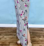 Black Striped & Floral Split Leg Pant