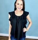 Pleated Front Ruffle Sleeve Top Black