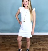 White Shoulder Ruffle Sleeveless Dress