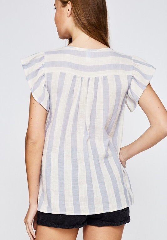 Cream Embroidered Striped Top