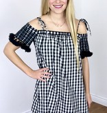 Black / White Plaid Off Shoulder Tunic with Tassel Sleeves