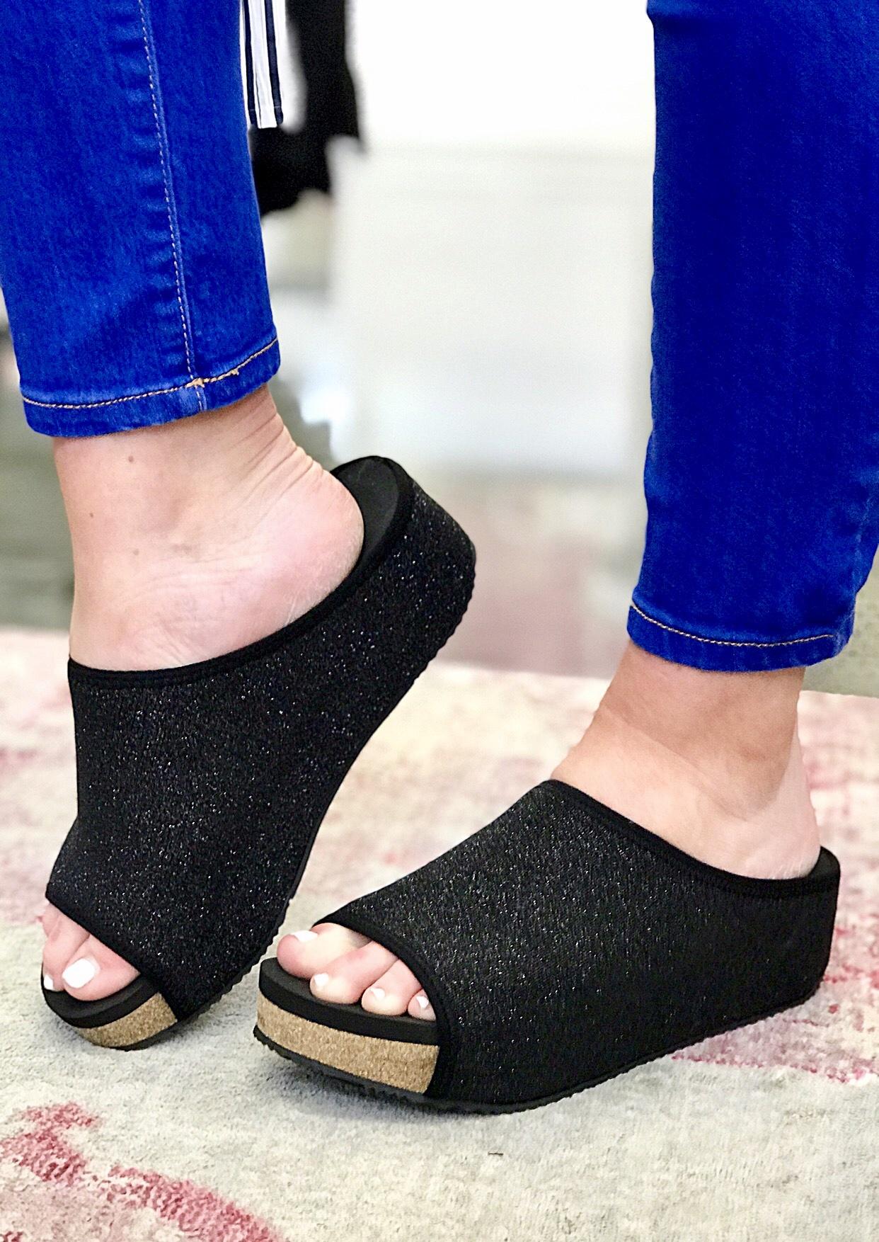 Lola Metallic Black Wedge Slide