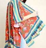 Red Floral Scarf Print Kimono With Ruffle Hem