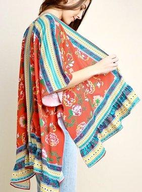 Red Floral Scarf Print Kimono With Ruffle Hem