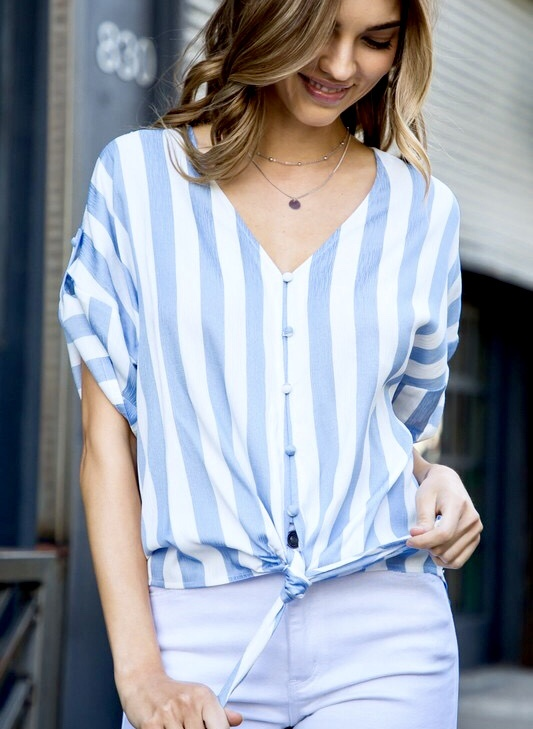 Blue Stripe Knotted Top