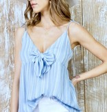 Light Blue and White Striped Front Tie Tank