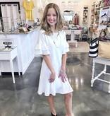 Off White Double Ruffle Sleeve Dress