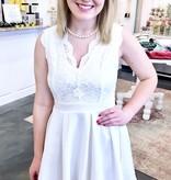 White V-Cut Floral Lace Dress
