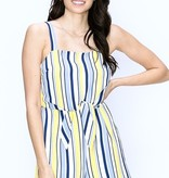 Yellow/Blue Striped Front Tie Romper