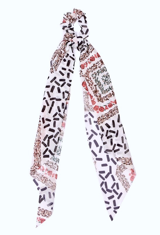 Floral/Striped Mixed Hair Scarf