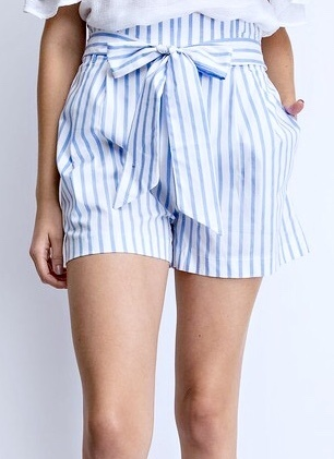 Light Blue Striped Front Tie Shorts