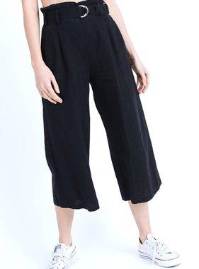 Black Belted Cinched Waist Pants