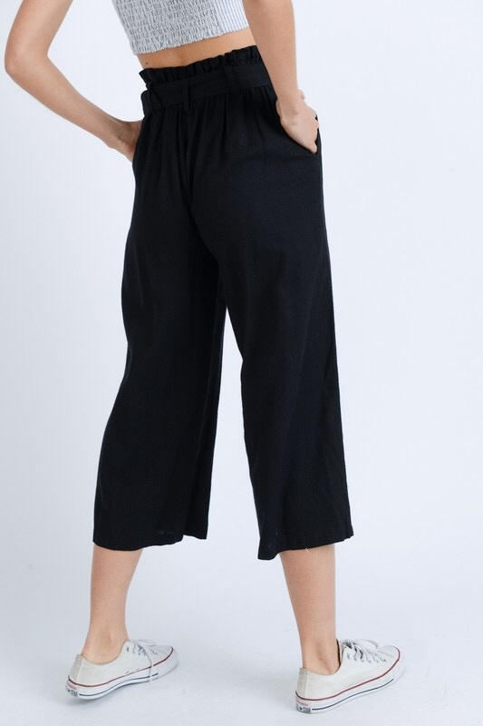 Black Belted Cinched Waist Pants