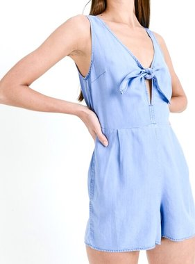 Blue Denim Front Tie Romper