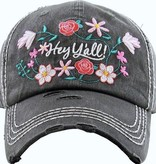 """Floral """"Hey Y'all"""" Hat"""