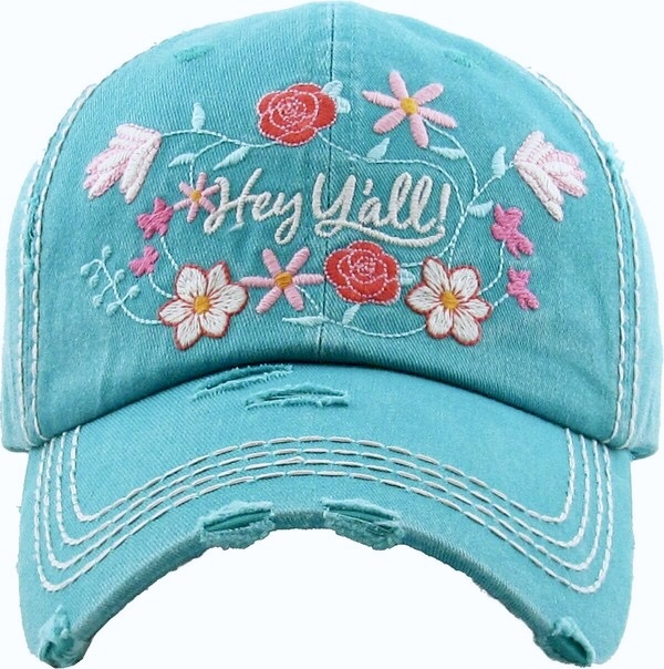 "Floral ""Hey Y'all"" Hat"