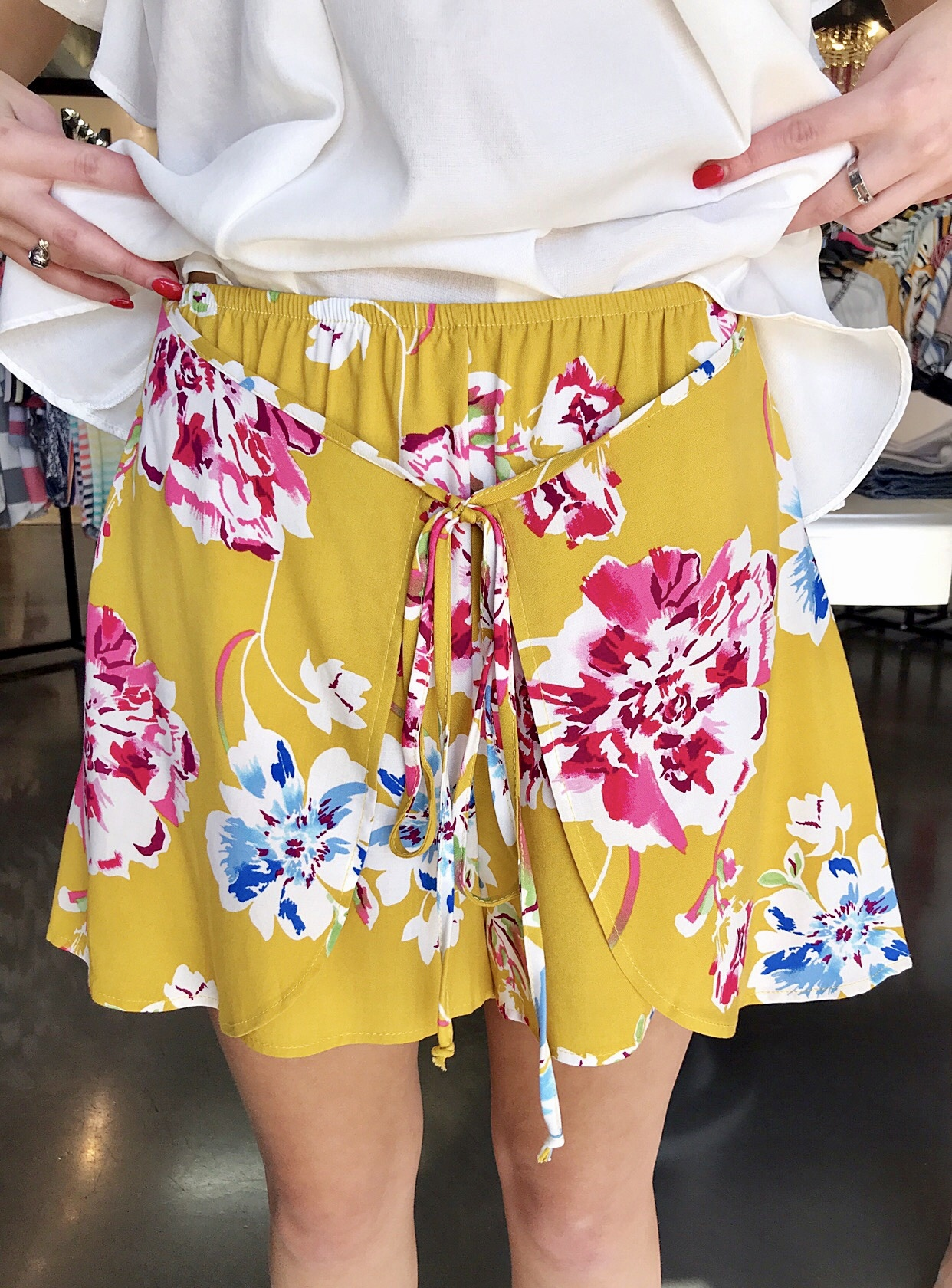 Turmeric High Rise Floral Shorts