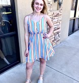 Red/Baby Blue Striped Cinched Waist Romper