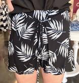 Navy High Rise Leaf Print Shorts