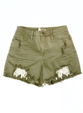 Faded Olive Stretchy Distressed Short