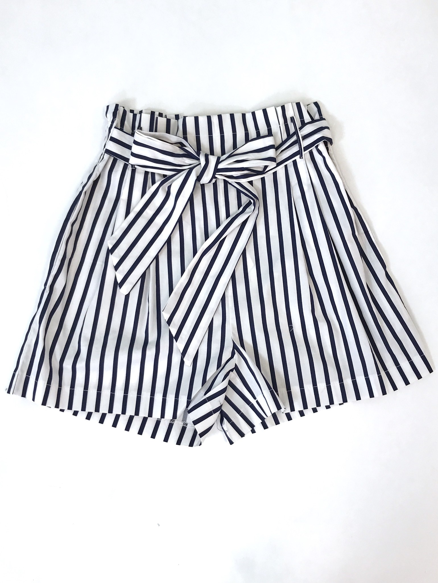 Navy Striped Tie Front Shorts