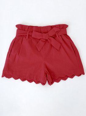 Red Spring Tied Waist Shorts - Sale Item