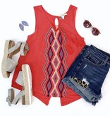 Coral Embroidered Sleeveless Top